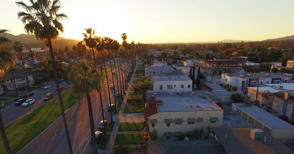 Drone shot of a neighborhood in Los Angeles Royalty-free stock video