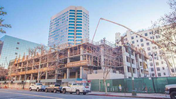 DOWNTOWN, LOS ANGELES, CALIFORNIA, USA - 07 JANUARY 2015, Timelapse on construction yard. Royalty-free stock video
