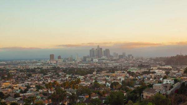 Spectacular sunset over Los Angeles, CA. Transition from day to night. Timelapse view on downtown. Royalty-free stock video