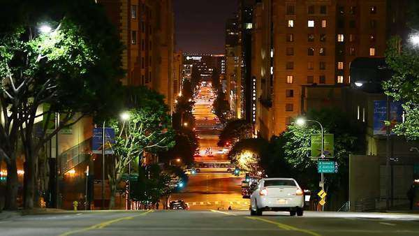 DOWNTOWN, LOS ANGELES, CALIFORNIA, USA - 22 SEPTEMBER 2014, Big city street traffic at night. Timelapse video view. Royalty-free stock video