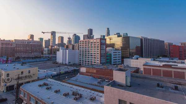 Hyperlapse of buildings in Los Angeles, USA Rights-managed stock video