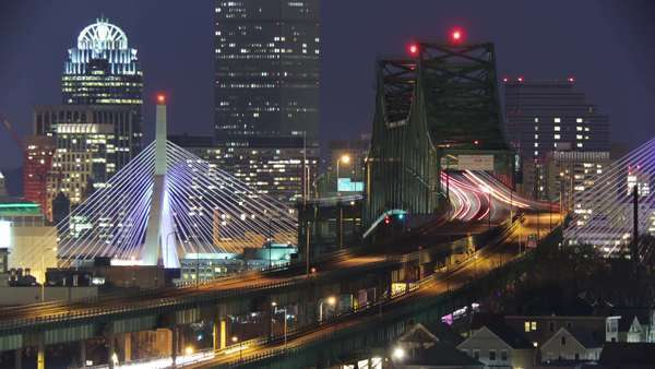 Boston Tobin bridge car streaks timelapse Royalty-free stock video