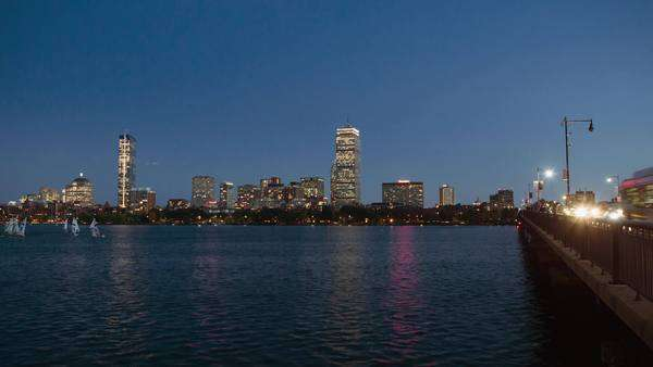 Panning timelapse of Boston skyline and bridge Royalty-free stock video