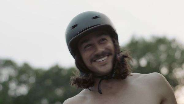 Guy with helmet on laughing Royalty-free stock video
