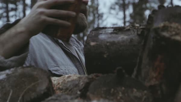 Hand-held shot of a man making a pile of logs Royalty-free stock video