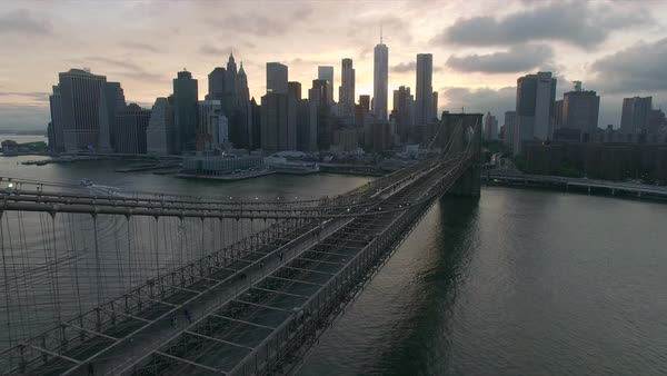 Evening sunset drone view of Brooklyn bridge Royalty-free stock video