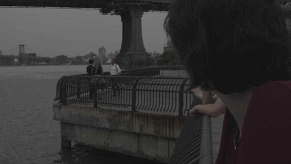 Hand-held shot of a young woman looking at East River Royalty-free stock video