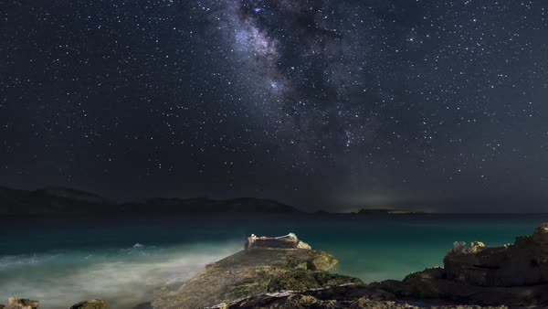 Timelapse of Milky Way above a seashore in Koufonisia Royalty-free stock video