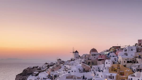 Timelapse of sunset over Oia village in Santorini Royalty-free stock video