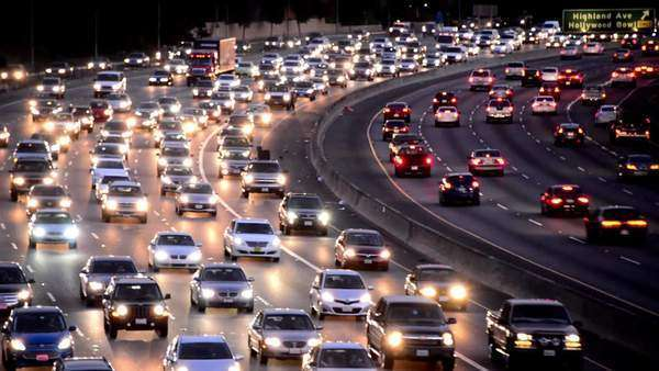 Evening Rush Hour Traffic on Busy Freeway in Los Angeles Royalty-free stock video