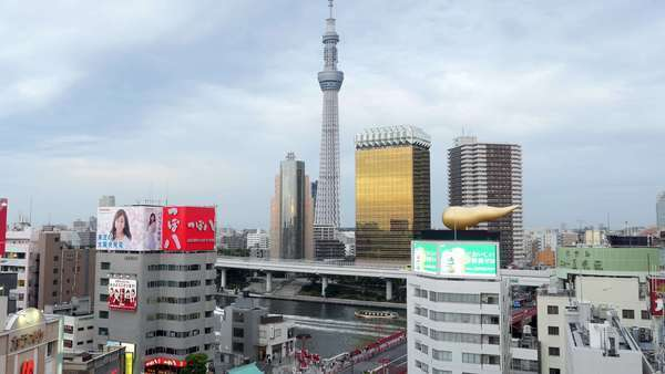 Timelapse of Skytree Entertainment Tower and Tokyo Skyline - Tokyo Japan Royalty-free stock video