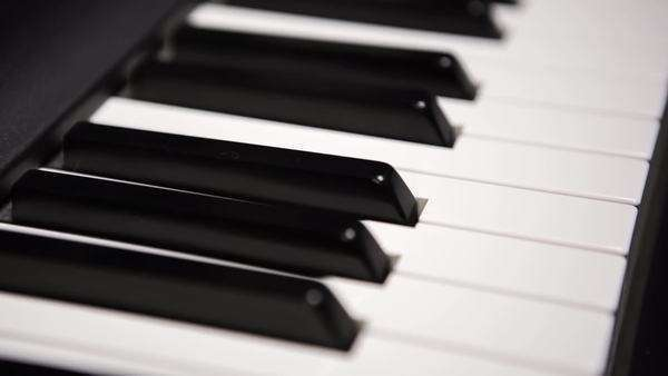 Close up moving shot with shallow depth of field of piano keys moving down the keys. Royalty-free stock video
