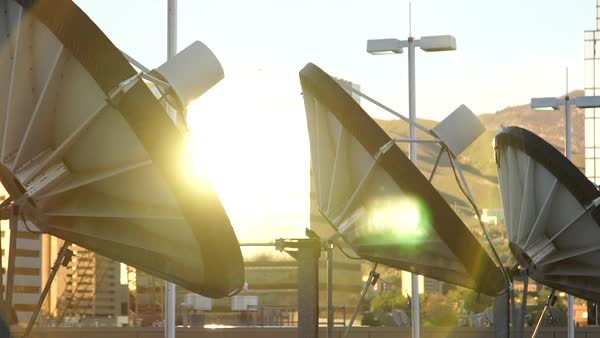 Beautiful shot of satellite dishes. Royalty-free stock video