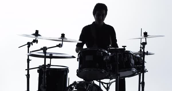 Drummer playing drum solo on kit in studio Royalty-free stock video