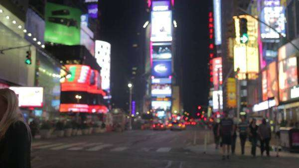 Timelapse sequence taken from junction on Times Square with traffic and pedestrians in motion. Royalty-free stock video