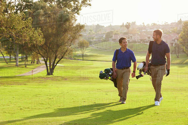Two Male Golfers Walking Along Fairway Carrying Bags Royalty-free stock photo