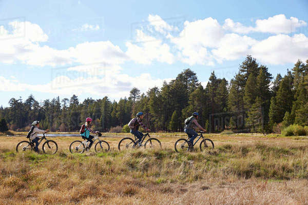 Family mountain biking in countryside, Big Bear, California Royalty-free stock photo