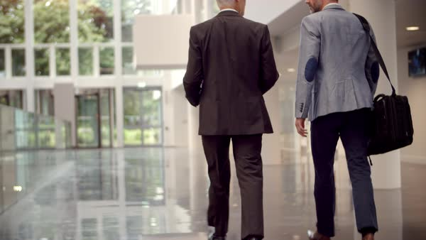 Rear view of businessmen talking as they walk through office reception Royalty-free stock video