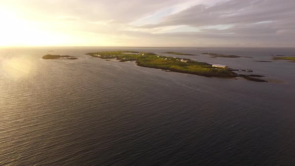 Drone shot of sea and island during sunset Royalty-free stock video