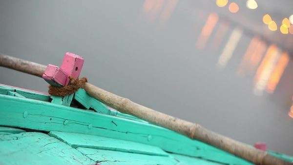 Close up shot of a person rowing on the river in India Royalty-free stock video