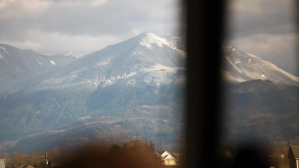 Point of view of snow covered mountains Royalty-free stock video