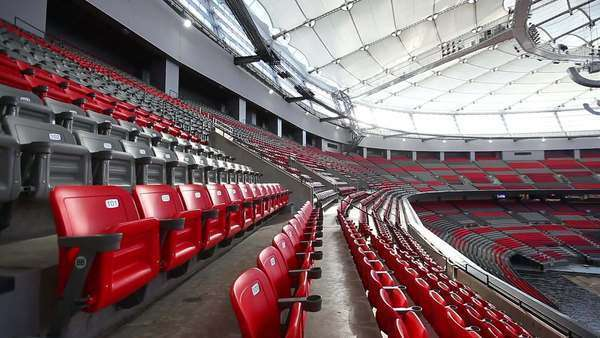 Medium shot of seats in an empty stadium Royalty-free stock video