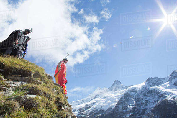 Wingsuit flyer preparing to jump Royalty-free stock photo