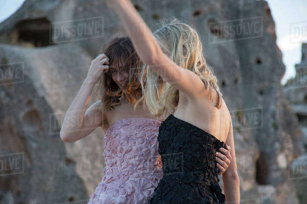 Young women dancing together Royalty-free stock photo