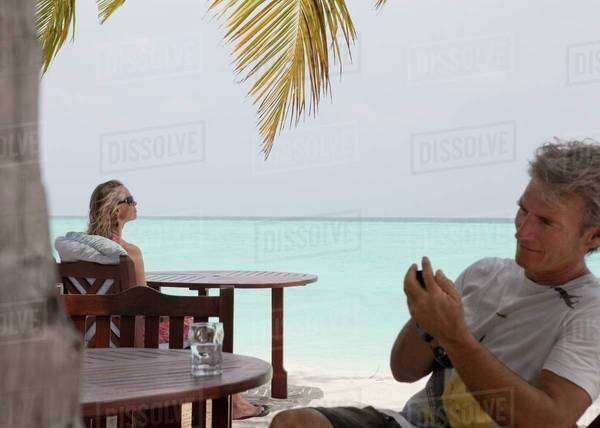 People relaxing on the beach Royalty-free stock photo