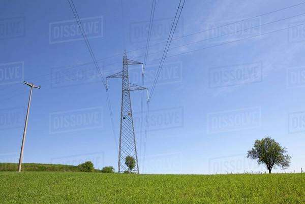 Transmission towers in a meadow Royalty-free stock photo
