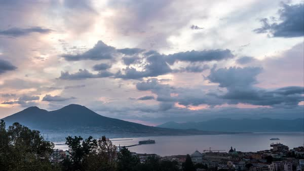 Naples city with Mount Vesuvius in the Sunrise Timelapse Royalty-free stock video