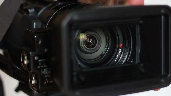 After opening the hood the professional video camera is ready for shooting Royalty-free stock video