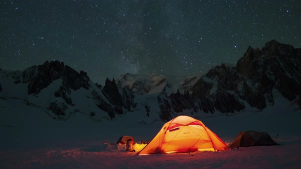 Timelapse of stars in winter, above tent Royalty-free stock video