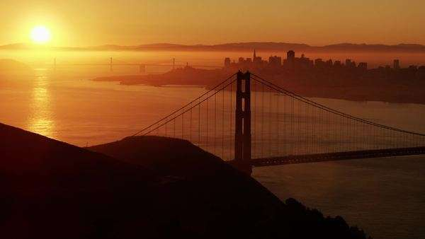 Aerial sunrise view Golden Gate Bridge San Francisco Royalty-free stock video