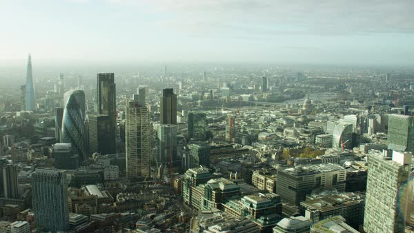 Aerial view of the city of London modern Skyscrapers Royalty-free stock video
