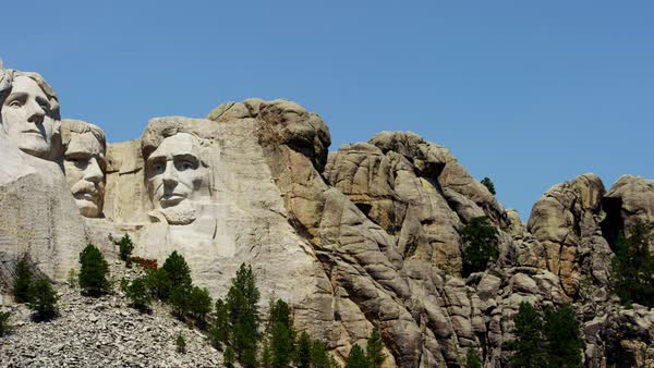 View of stone carved presidents mount rushmore usa stock