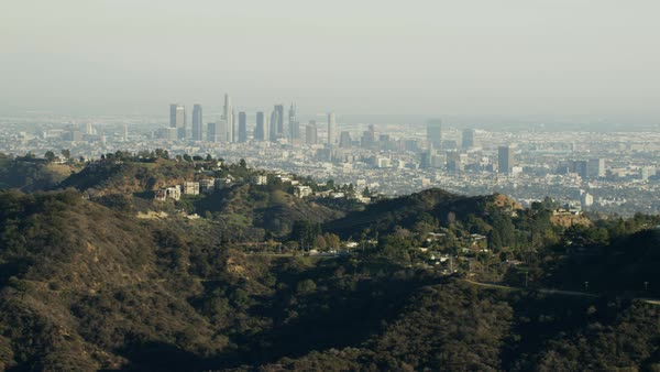 Aerial view from Hollywood Hills of Los Angeles city skyline California Royalty-free stock video
