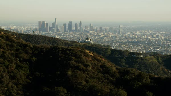 Aerial view at sunset of Griffith Observatory in California Hills Royalty-free stock video