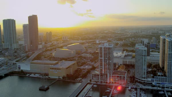 Miami USA - April 2017: Aerial city waterfront view Miami Herald Building and MacArthur Causeway Florida USA Royalty-free stock video