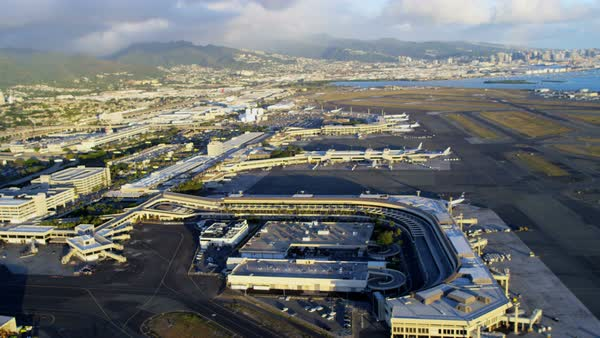 Aerial view of coastal Hawaii and Honolulu International Airport Honolulu Hawaii Oahu USA Royalty-free stock video