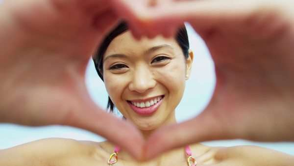 Close Up Portrait Asian Chinese Girl Framing Face With Fingers Royalty-free stock video