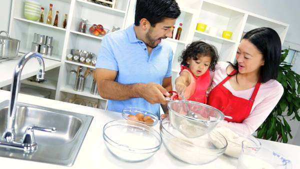 Ethnic Parents Infant Daughter Baking Together Kitchen Royalty-free stock video