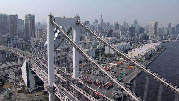 Aerial Rainbow Bridge Metropolis Tokyo Bay Shuto Expressway Japan Royalty-free stock video