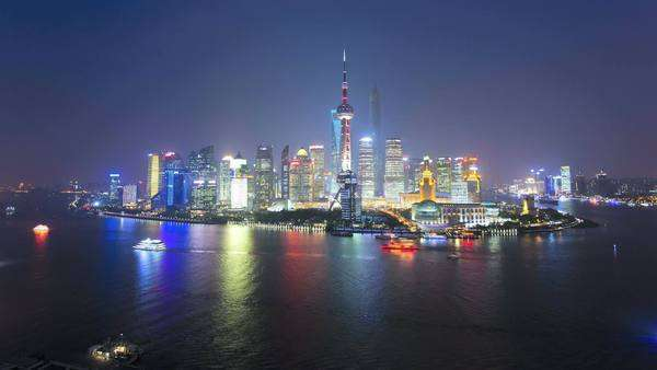 Timelapse night illuminated Shanghai Tower Lujiazui Shanghai Royalty-free stock video