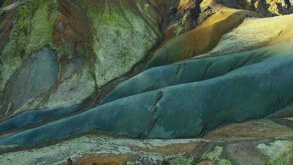 Aerial glacial erosion volcanic colorful landscape Landmannalaugar Iceland Royalty-free stock video