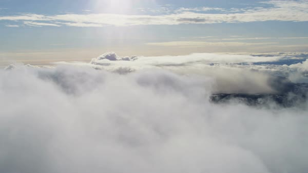 Aerial flying aviation Cumulus clouds view mid air transportation suspended liquid droplets outdoors scenic altitude weather Royalty-free stock video
