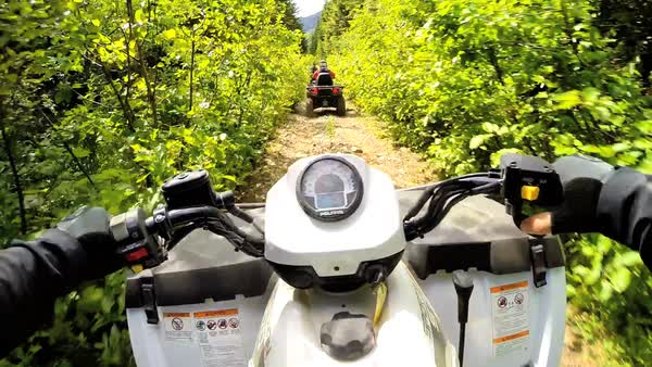 Canada - September 2014: POV driving Off road Quad bike mountain forest environment dirt track wild extreme terrain leisure activity Canada Royalty-free stock video