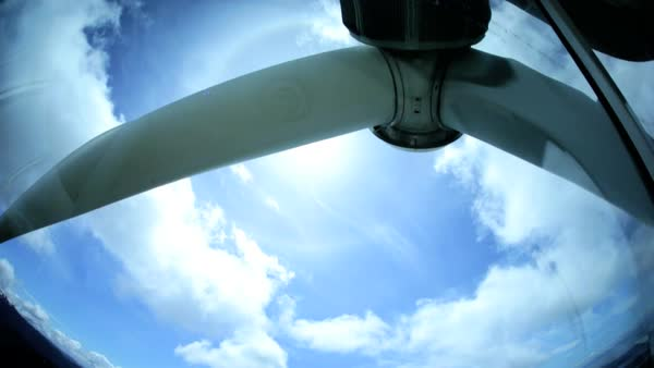 Mechanical interior motion view wind turbine blades clean alternative energy production sky sunlight environment Canada Royalty-free stock video