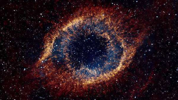 Flight through space towards colorful galaxy resembling a huge eye Royalty-free stock video