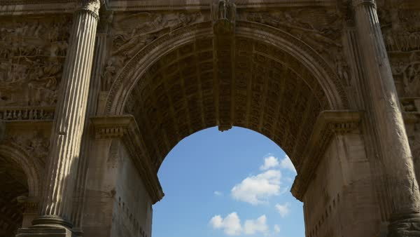 Rome Famous Summer Day Arch Of Septimius Severus Blue Sky Walking View Royalty-free stock video
